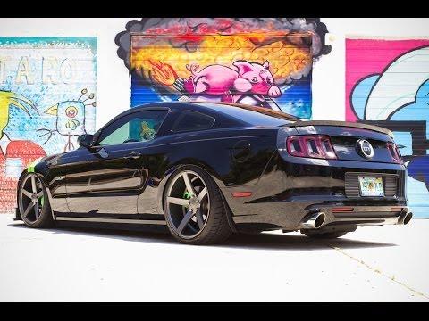 "Bagged Ford Mustang on 20"" Vossen VVS-CV3 | XN WORKS"