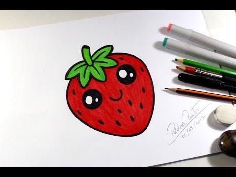 Como Desenhar Morango Kawaii Passo A Passo