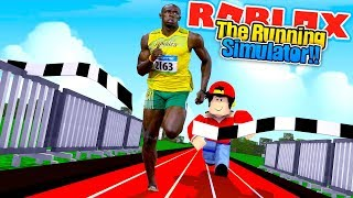ROBLOX - BEATING USAIN BOLT IN THE RUNNING SIMULATOR!!