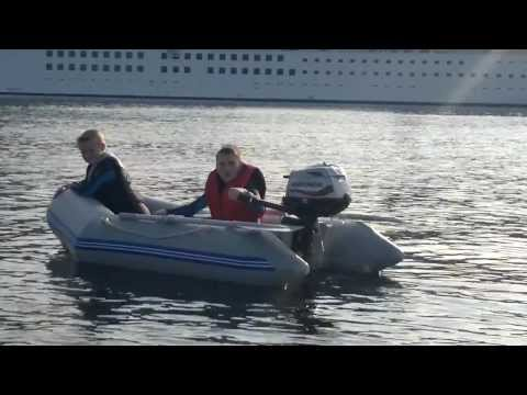 Lewis & Aidan in the Dinghy just off Greenock Ocean Terminal