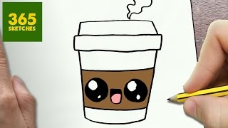 HOW TO DRAW A COFFEE CUTE, Easy step by step drawing lessons for kids