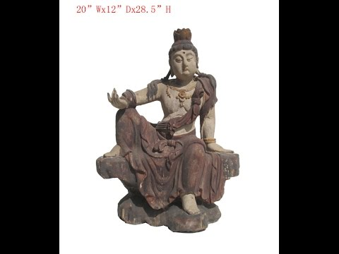 Chinese Antique Sitting Peaceful KwanYin Wooden Carving Statue WK2862