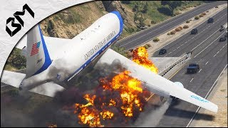 GTA 5 - ATTERRISSAGE D'URGENCE - Réacteur en feu - Air Force One - Flight Simulator