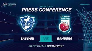 Dinamo Sassari v Brose Bamberg - Press Conference | Basketball Champions League 2020/21