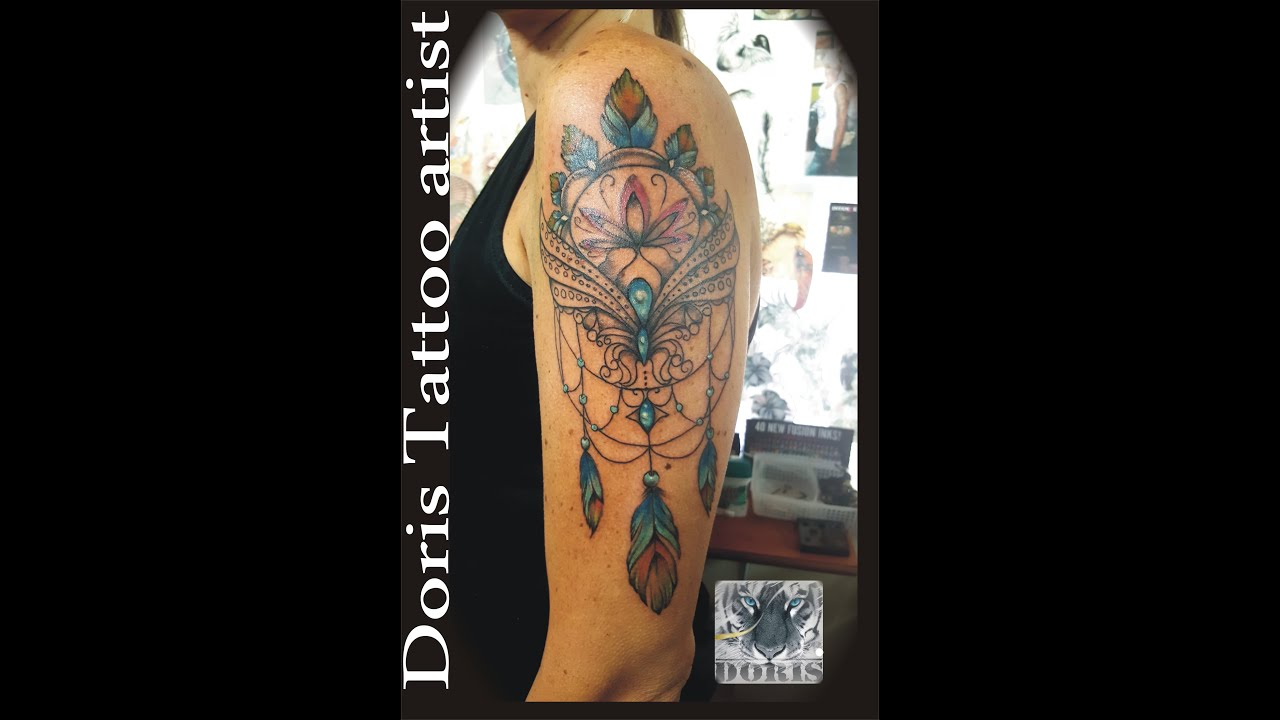 Lace color dreamcatcher half sleeve youtube for Lace half sleeve tattoo