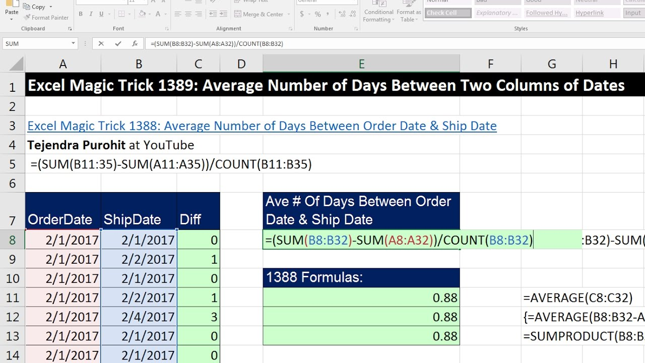 Excel Magic Trick 1389: Average Number of Days Between Two Columns of Dates