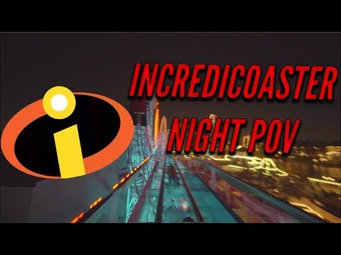*NEW* Incredicoaster ride NIGHT POV 60FPS Pixar Pier Disney California Adventure
