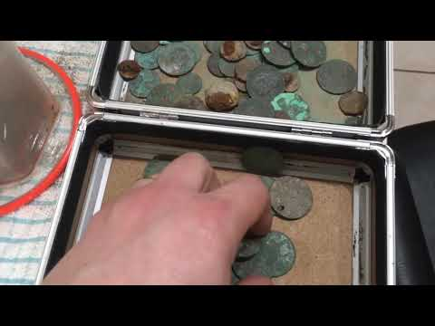 Part one video how to clean old green coins that would go to bin