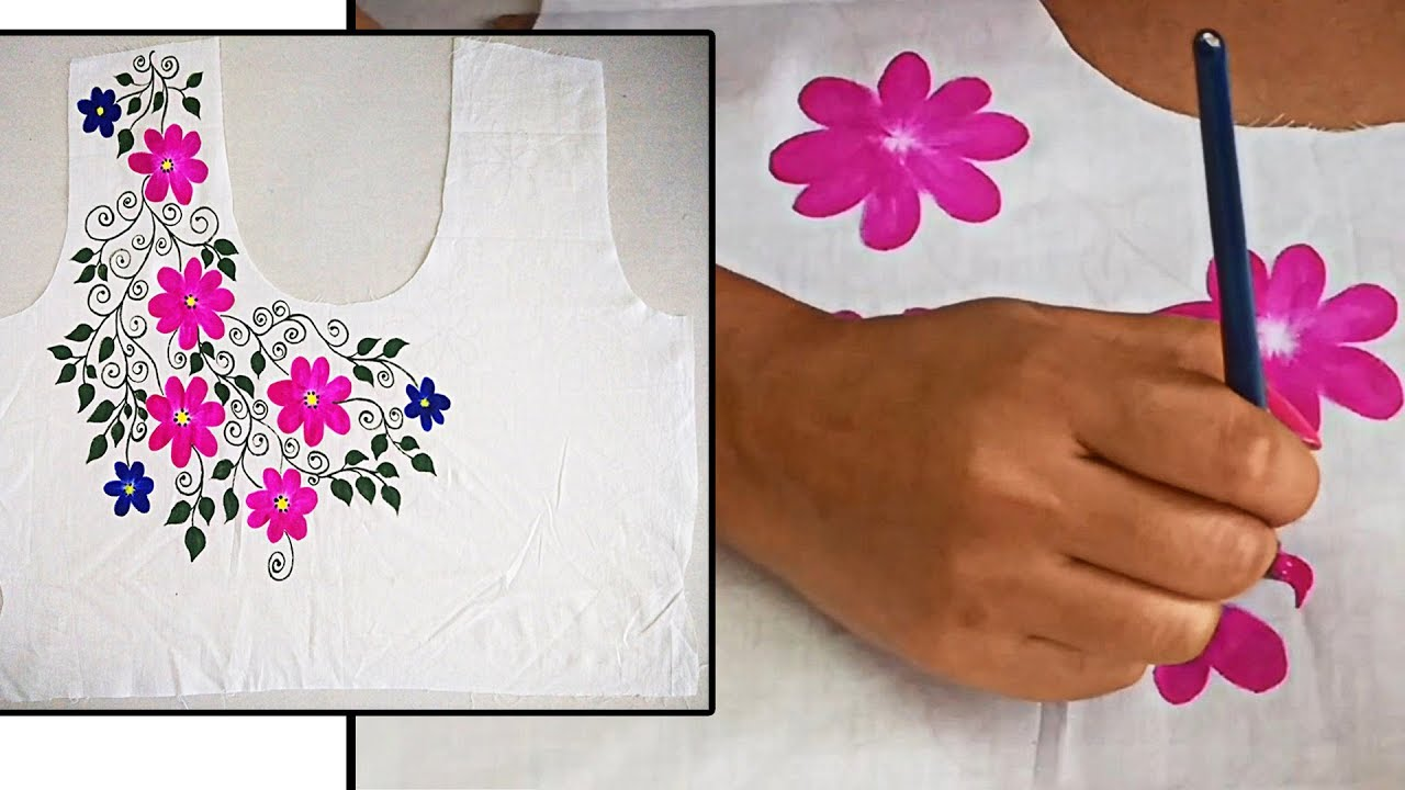 5afc3bf29a Designer Hand Painted Flower Design on Kurti Neck | Free Hand Painting on  Fabric