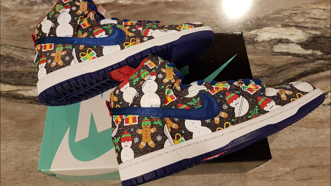 NIKE x CONCEPTS UGLY CHRISTMAS SWEATER DUNKS UNBOXING + ON FEET ...