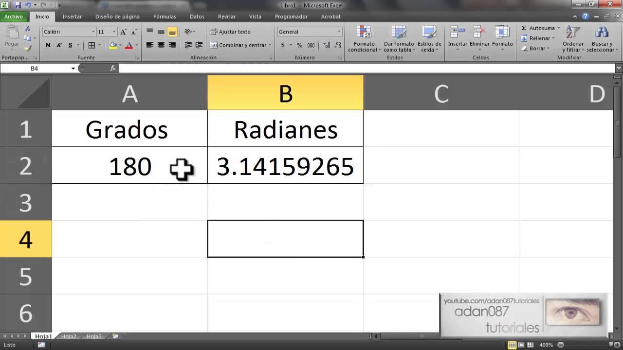 excel convertir grados a radianes