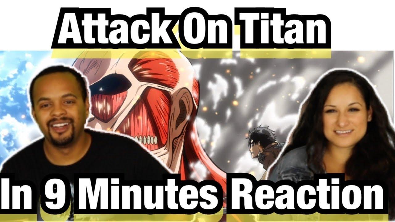 HILAROUS! Attack on Titan in 9 minutes Reaction - YouTube