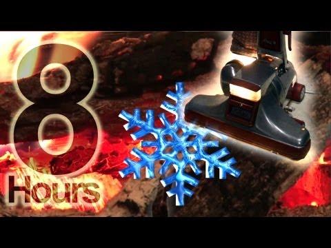 8hrs. Vacuum ASMR Snowstorm Fireplace  - Vacuum sound Snowstorm, log cabin fireplace