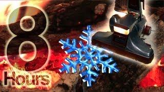 8hrs. Vacuum ASMR Snowstorm Fireplace  - Vacuum sound Snowstorm, log cabin fireplace thumbnail