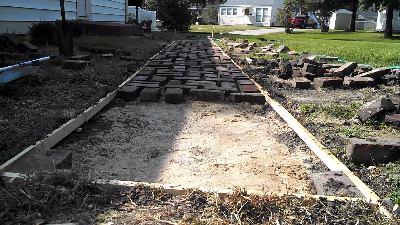 Cheap diy brick path update1 youtube for Cheapest way to build a building