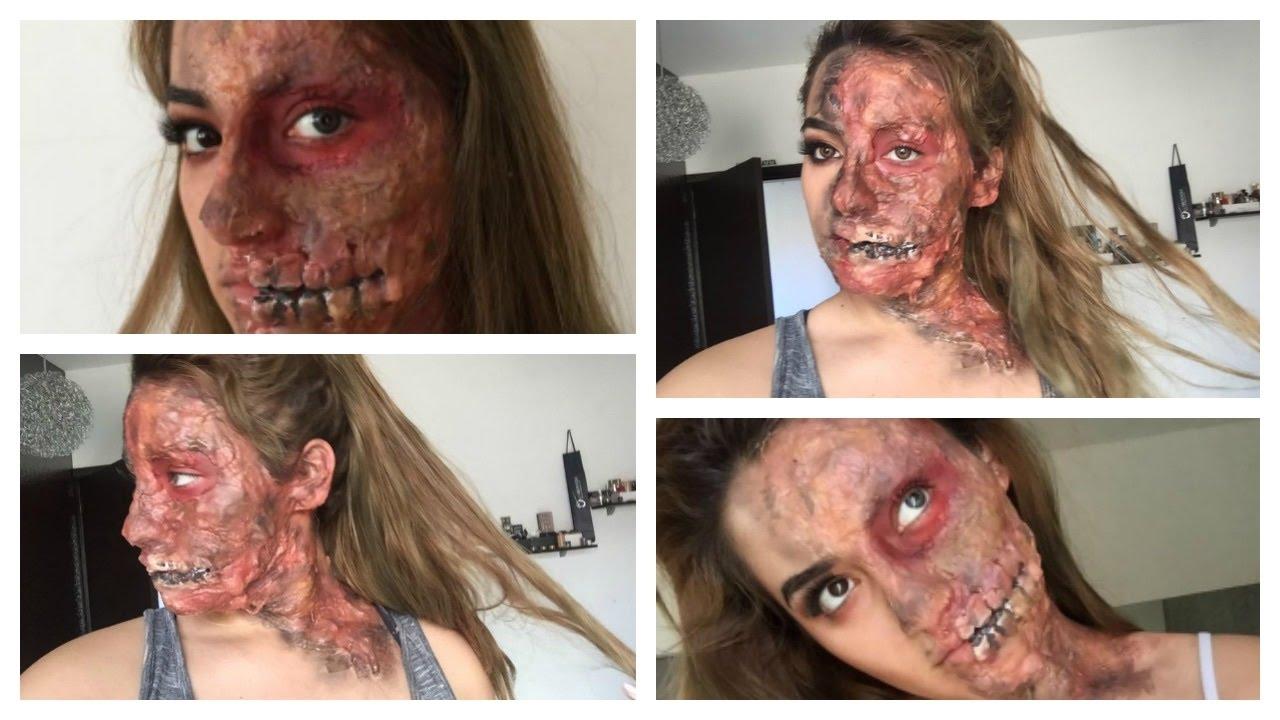 easy half burned face halloween makeup tutorial fx makeup beginners - Halloween Makeup For Beginners