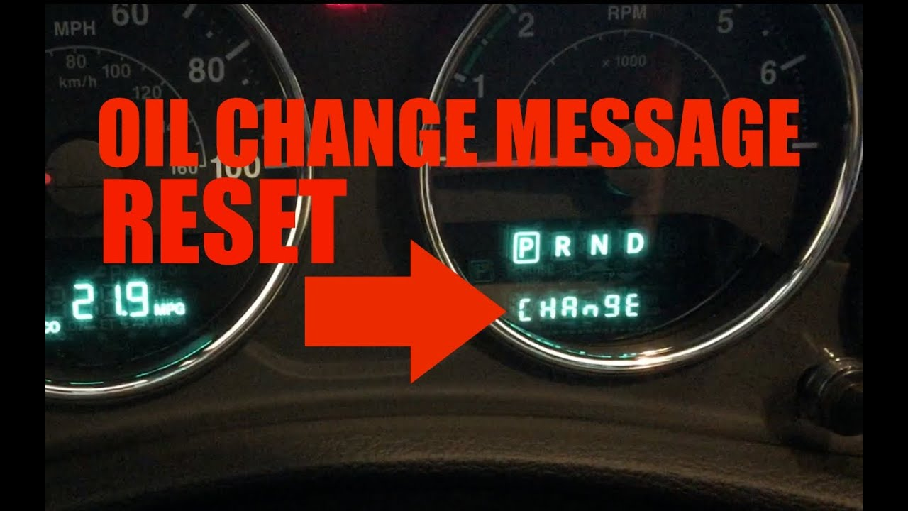 how to reset change oil message jeep jk wrangler - youtube