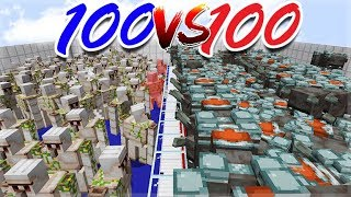 MINECRAFT MOB BATTLES! 100 ILLAGER BEASTS Vs 100 IRON GOLEMS! WHO WILL WIN!?!?