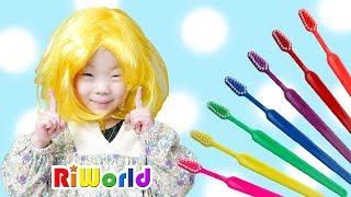 Learn Colors for kids 색깔 칫솔로 양치 했더니 리원이의 머리카락 색깔이 변했어요!! 어린이 양치놀이 색깔놀이 숨바꼭질 인기동요