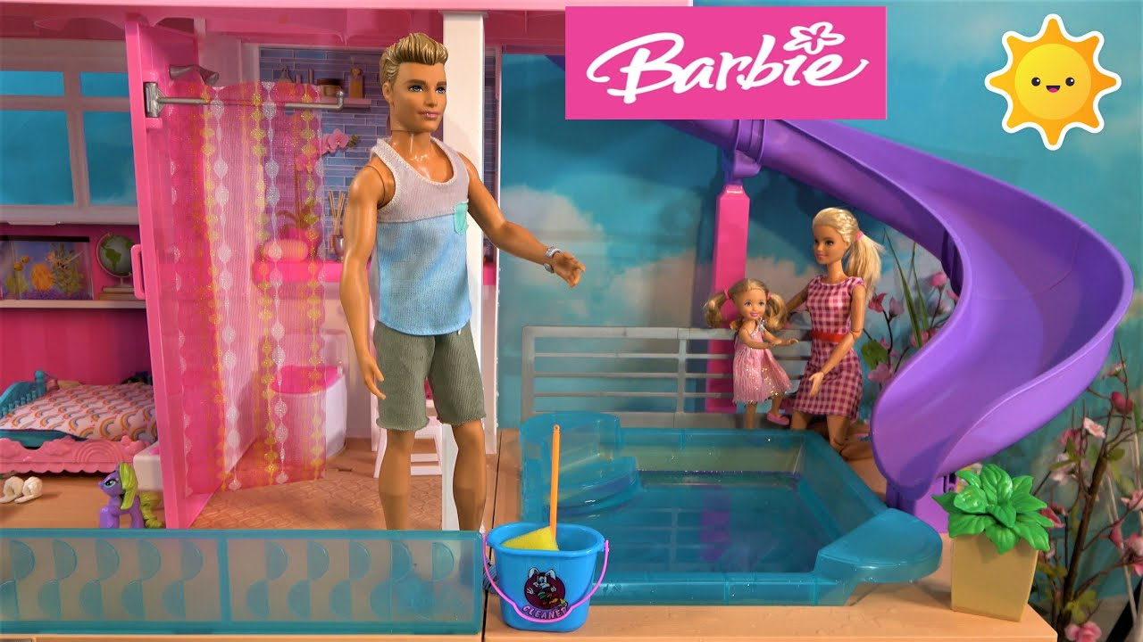 Barbie and Ken Stay at Home Story in Barbie Dream House with Annoying Chelsea and Movie Night