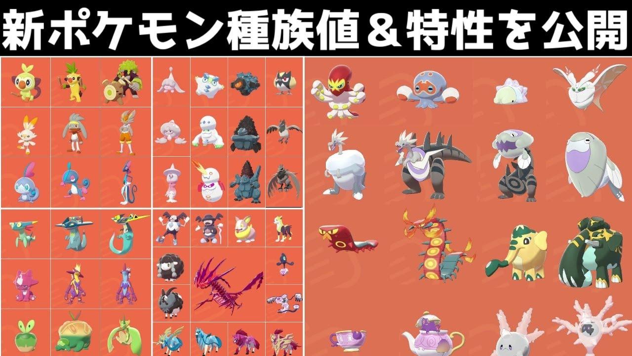 【ポケモン剣盾】新ポケモンの種族値&特性を一挙公開