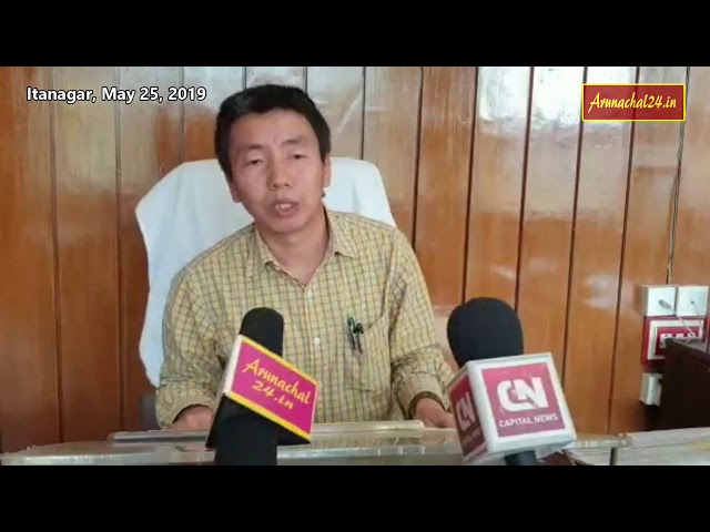 Arunachal Pradesh- CEO Kaling Tayeng addressing a press conference on Saturday
