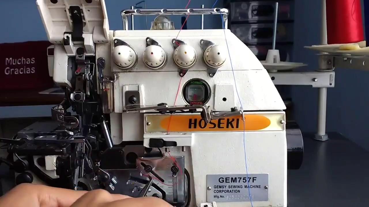 Ajuste de tensión del hilo en máquina overlock industrial