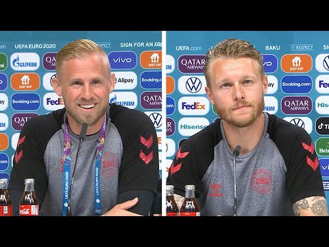 Kasper Schmeichel, Simon Kjær - Czech Republic v Denmark - Pre-Match Press Confe