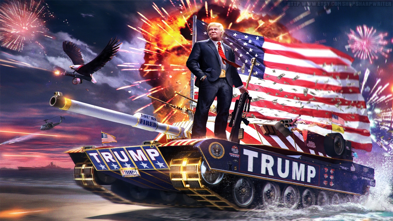 Image result for trump on a tank