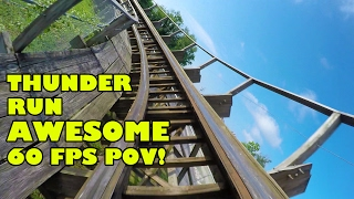 Thunder Run Roller Coaster AMAZING 60FPS Front Seat POV Kentucky Kingdom
