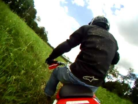 XR100 fun on the small grass track...