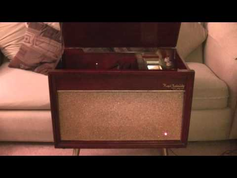 1956 OLYMPIC HIGH FIDELITY RADIO/RECORD PLAYER MODEL A590 -- HEARTS OF STONE -- THE CHARMS