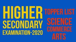 Toppers List    HSE-2020    COHSEM    Arts, Science and Commerce Stream
