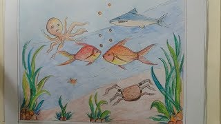 how to draw scenery of under the sea/draw scenery  under the sea and coloring step by step very easy