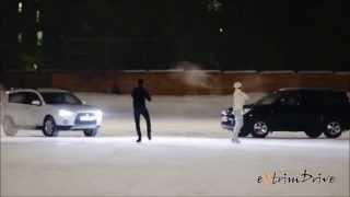 Красивые пары - люди и автомобили на льду