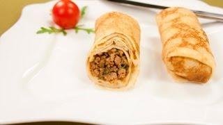 Блинчики с мясом видео рецепт(На странице http://za100le.ru/pancakes/empanadas.html Вас ждут подробные фото и ингредиенты этого рецепта., 2013-02-18T16:52:53.000Z)