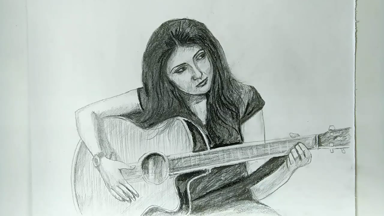 Girl playing guitar sketch