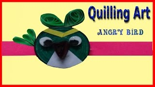 Paper Quilling: green angry bird beautiful rakhi |How to make|