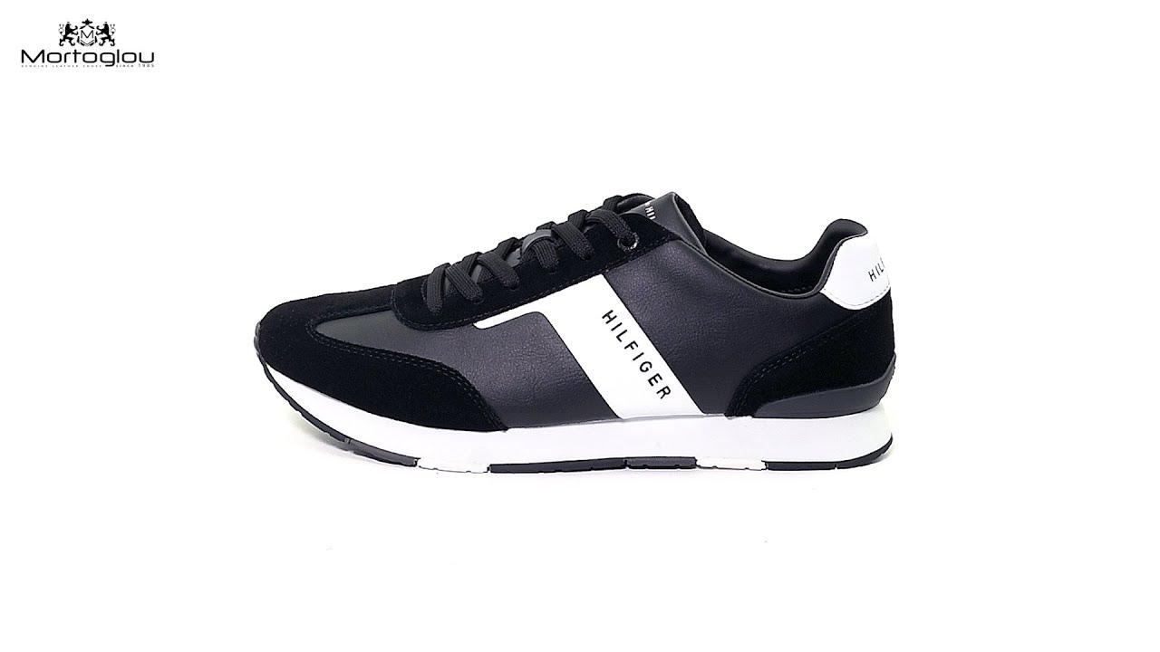 Ανδρικά Παπούτσια Casual Tommy Hilfiger Runner.Mix Black Leather ... 882965660bc