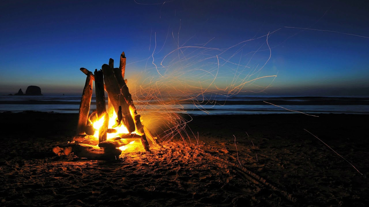 Campfire On The Beach Ocean Wave Crackling Fire Sound