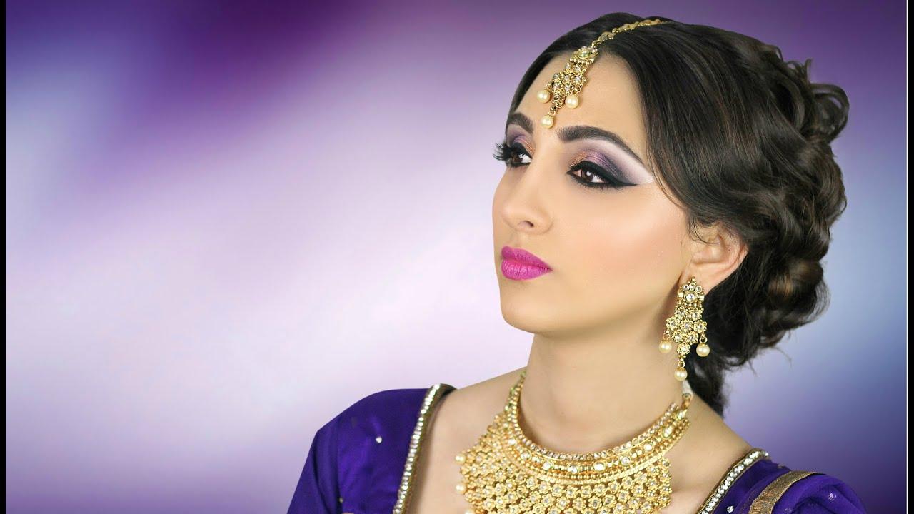 Asian Stani Indian Bridal Makeup Tutorial Purple Smokey Eye You