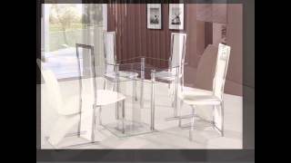Square Gl Dining Table And Chairs
