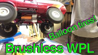 Brushless WPL C24 with custom metal transmission - balloon tires and wheelies!