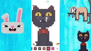 Fun Hare, Cat, Sloth - Pixel art color by number voxel. Fun game for kids.