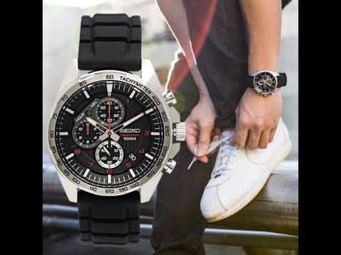 SEIKO碳纖格紋面矽膠款 重裝三眼錶【一元起標無底價】【全新原廠SEIKO】【天美鐘錶店家直營】SSB325P1