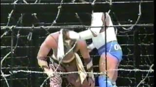 FMW - Atsushi Onita vs. Hayabusa (Electrified Barbed Wire Exploding Cage Deathmatch, XPW Commentary)