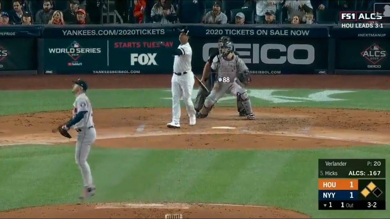 Yankees Home Runs 2020.Aaron Hicks 3 Run Home Run Vs Astros Yankees Vs Astros Alcs Game 5