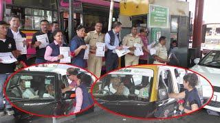 वाहन चालकांना गुलाब पुष्प देवुन सीट बेल्ट लावण्याबाबत प्रबोधन