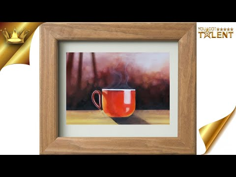Hot red cup easy relaxing painting / cup painting / hot cup painting / cup painting | You Got Talent