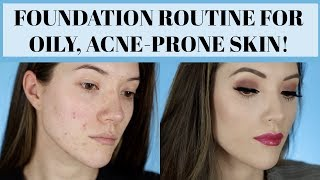 FOUNDATION ROUTINE FOR OILY, ACNE-PRONE SKIN (Long Lasting & Full Coverage) Day 9 | Blair Fowler